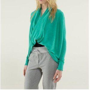 LULULEMON Green Cashmere Iconic Sweater Wrap sz 6